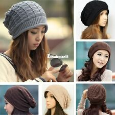 Women Beanie Hat Knit Crochet Cap Baggy Winter Thick Wool Ladies ETDS
