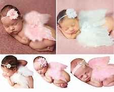 New Baby Girl Newborn Infant Headband+Feather Wing Clothing Set Photography Prop