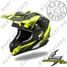 CASCO SCORPION VX 15 KRUSH EVO AIR CROSS MOTARD ENDURO OFF ROAD MOTO GIALLO NERO