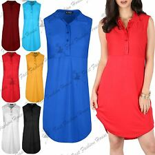 Womens Sleeveless Collared Curved Hem Front Button Ladies Baggy Mini Shirt Dress
