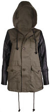 Womens New Contrast Sleeve Ladies Faux Leather Pockets Hooded Parka Coat Jacket
