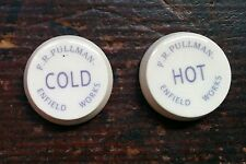 Pair Hot & Cold, F R Pullman, Enfield Works, Ceramic Tap Inserts Indices  23mm