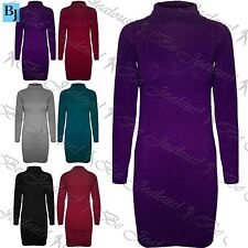 Womens Ladies Long Sleeve Bodycon Turtle Neck Fine Knitted Roll Mini Dress