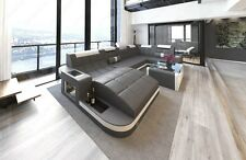Leather Sofa WAVE U-shaped LED Relax Design Corner couch Megasofa grey-white