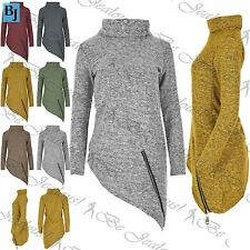 Womens Roll Neck Oversized Knitted Jumper Top Ladies Baggy Sweater Plus Size