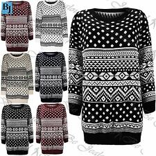 Womens Dress Ladies Jumper Baggy Aztec Fairisle Christmas Knitted Long Sweater
