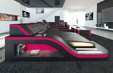 Leather Sofa with LED lighting Designer Sofa Palermo U-shape black pink