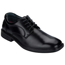 Mens Hush Puppies Norwich Black Shoes-Smooth Finish-Comfort Fusion-Cushioned