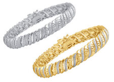 Wave Tennis Bracelet in White or Yellow Gold Plated Brass with Diamond Accents
