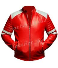 Brad Pitt Fight Club Genuine Cowhide Leather Red Biker Jacket/Coat for Men #569