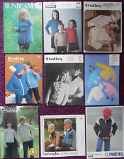 Various Knitting Patterns Childs Sweater - Please Choose from the Drop-down Menu