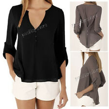 Fashion Women Tops Sexy V Neck Chiffon Casual Loose Long Sleeve T Shirt Blouse
