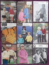 Various Knitting Patterns Childs Sweaters Cardigans - Choose from Drop-down Menu