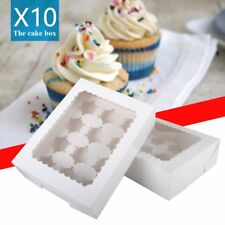 10X CUPCAKE FAIRY CAKE MUFFIN DISPLAY BOXES WITH WINDOW - PARTY, WEDDING FAVOUR