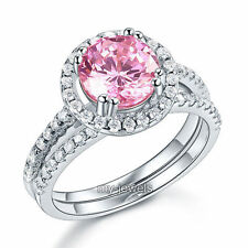 Argento 925 Fidanzamento Halo Anello Set di 2 ct Rosa Artificiali Diamante