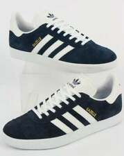 adidas Gazelle Trainers in Navy Blue & White - suede retro 3 stripe classic