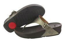 Fitflop The Skinny 350-012 Croc Leather Slippers Sandals Medium (B, M) Womens