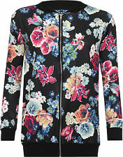 Womens Plus stampa floreale Rose Bomber Giacca manica lunga Zip cappotto Varsity