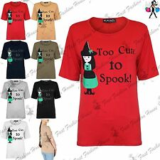 Ladies Too Cute To Spook Halloween Baggy Top Womens Oversized Jersey Tee T Shirt