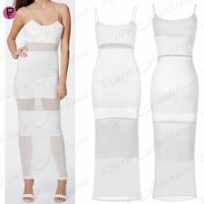Womens Celeb Stretchy Strappy Cami Ladies Mesh Insert Panel Bodycon Maxi Dress