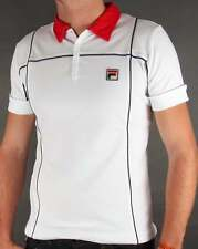 Fila Vintage Terrinda Polo Shirt in White & Red - Borg tennis Settanta Mk3