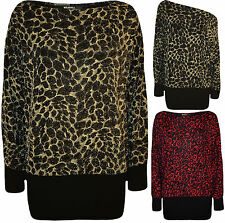 New Plus Size Womens Leopard Print Sparkly Ladies Batwing Sleeve Party Top 14-28