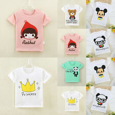 Lovely Kids Girls Boys Cartoon Comfy Cotton Tee Tops T-shirt Blouse Clothes 1-7Y