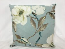 Chinoise Duckegg  Cushion Cover with St Ives  Sea Spray Ticking  back