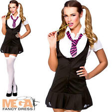 Naughty Schoolgirl Ladies Fancy Dress School Girl Uniform Womens Costume Outfit
