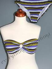 LA REDOUTE New Striped Bandeau Bikini SET : TOP & Briefs  Sizes UK 10 12