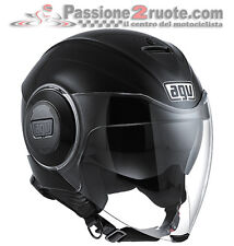 Casco jet moto Agv Fluid nero lucido metallizato black metal