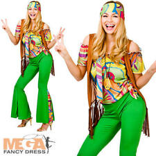 60s Groovy Hippie Ladies Fancy Dress 1960s 70s Retro Hippy Womens Adults Costume