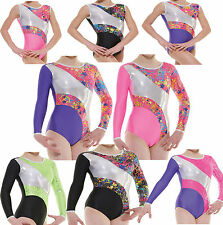 Gymnastics Leotards Girls Gym Leotard Lycra Metallic Foil Sleevless Sleeved Star