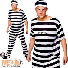 Prisoner Convict Fancy Dress Party Mens Adult Robber Costume Outfit + Hat M-XL  sc 1 st  eBay & Full Latex Halloween Head Mask Escape Convict Prisoner Prison ...