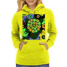 Funny Funky Green Turtle Abstract Art Womens Hoodie