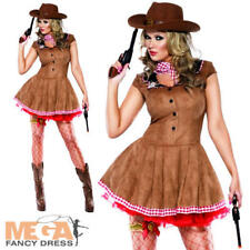 Sexy Western Cowgirl Ladies Fancy Dress Womens Adults Cowboy Costume UK 8-18 New
