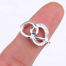 Fancy Ladies Hollow  Knot Fashion 925 Sterling Silver Ring Size 7 Jewelry H902