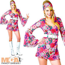 Retro Flower Go-Go Dress Hippie Girl Fancy Dress 1960s 60s 70s Hippy Costume