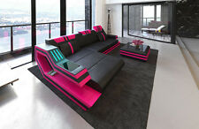 Leather sofa RAVENNA L-Shape with LED RGB Lighting USB black pink