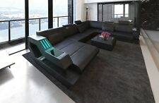 Leather sofa RAVENNA XL Mega Interior design with LED lighting USB black-black