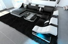 Leather sofa set TURINO XXL with LED lighting Leather couch black white