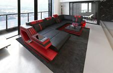 Leather sofa Interior design RAVENNA U-shape with LED lighting USB
