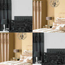 Elegance Bedroom Couture Monte Carlo Satin Eyelet Lined Curtains