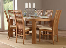 Clifton & Newark Oval Oak Dining Room Table and 4 6 Chairs Set (Ivory)