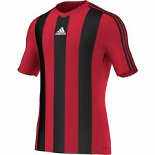 adidas Striped Estro Fussball Trikot Trainingsshirt Jersey rot/schwarz gestreift