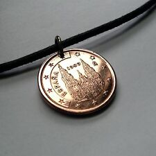 Spain 5 Euro cent coin pendant charm necklace jewelry Spanish architecture