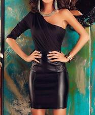 Womens Faux Leather Asymmetric One Shoulder Ruched Bodice Lace Party Club Dress