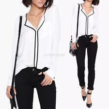 Fashion Women Lady White Long Sleeve Shirt Loose Chiffon Tops Casual Blouse NEW