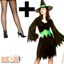 Wicked Witch + Tights Ladies Fancy Dress Halloween Scary Adults Womens Costume