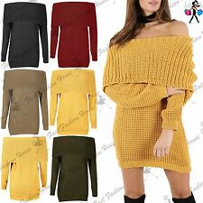Women Ladies Off Shoulder Long Sleeve Cable Knitted Bardot Pullover Jumper Dress